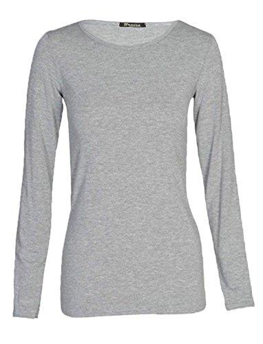 silva & sons - Camiseta de manga larga - para mujer gris