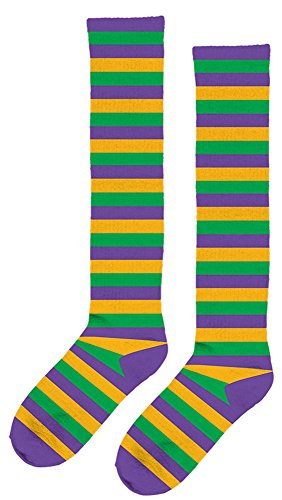 Amscan 399434 Mardi Gras Striped Knee Socks Party Supplies, One size, Multicolor]()