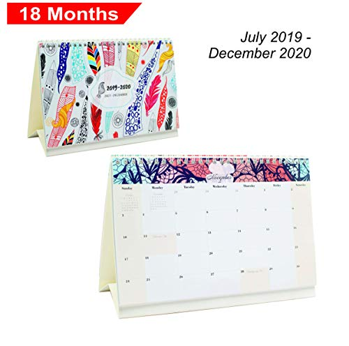 Desk Calendar From July 2019 Through December 2020 - 18 Months Colour Flip Calendar - Monthly Calendar Planner - Daily Planner - Desktop Calendar 2019-2020 - Tent Flip Calendar - Office Calendar