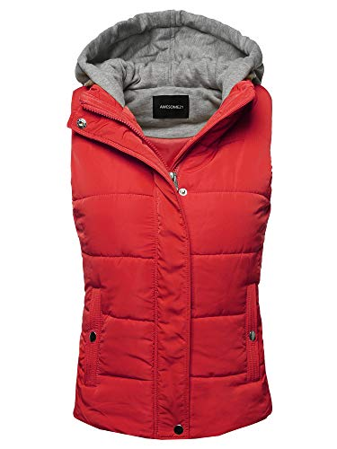 Casual Drawstring Hooded Padding Junior Vest Red Size S