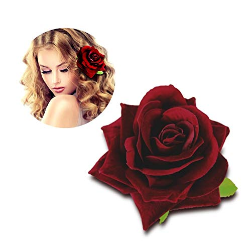 HongX Velvet Rose Hair Clip Flower Brooch for Women Wedding Hairpin,Dark Red