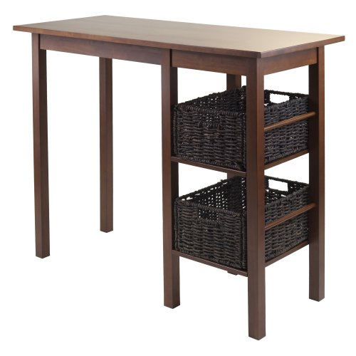 Winsome Wood Egan 3-Piece Breakfast Table with 2 Baskets Set