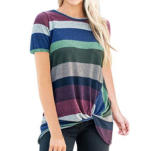 (TWGONE Stripe Shirts For Women Colorful Short Sleeve T Shirts Twist Knot Tunics Tops)