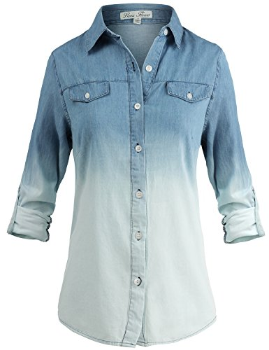 - Luna Flower Women's Long Sleeve Button Down Ombre Dip-Dye Denim Shirt Denim Small (GTEW106)