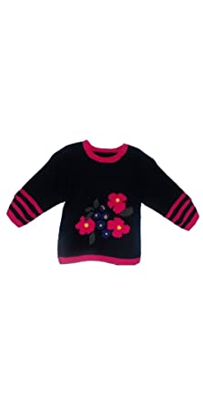 6fee85956 Amazon.com  Hand Made Knit Wool Sweater in Flower Design for Girls ...