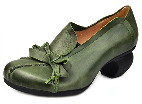 Cunzhai Women's Bowtie Spring/Summer Mid Chunky Heel Round Toe Leather Dress Green Pumps Shoes, Style1-green,size 6.5 B(M)US