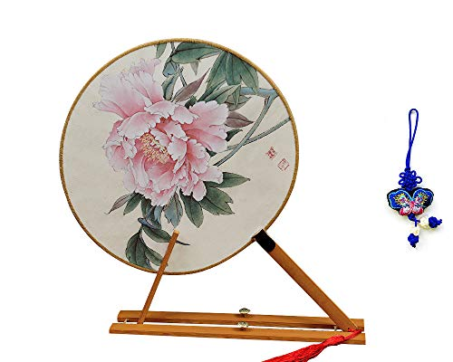 (ZHAMS Bamboo Silk Handle Round Hand Fan,Chinese Tang Dynasty Style with Butterfly Embroidery Pendant (C))