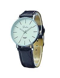 Simple Women Dress Watch Fashion Quartz Black PU Leather Strap Clock Wristwatch Vintage Casual Major Watch