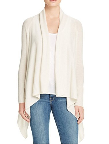 Bloomingdales Cashmere - C by Bloomingdale's Basic Open 100% Cashmere Cardigan Sweater (Snow White) (Large)