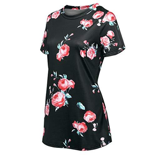 per Ypinglonk shirt Elegante O manica shirt donna stile stampato Causale Nero estiva Camicetta lungo Fiore Medio Bohemian T Casual T Sport Collo vItAvr