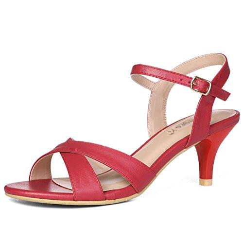 Allegra K Women's Crisscross Low Kitten Heel Ankle Strap Red Sandals - 7.5 M US