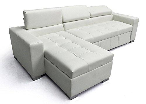 Divano Letto Bianco Ecopelle : Divano letto morgana con penisola sx in ecopelle bianco shop