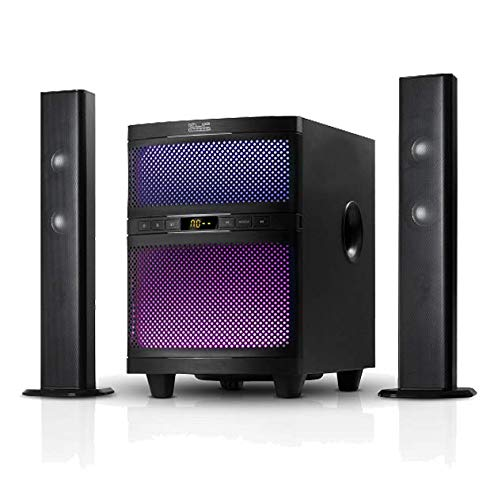 Klip Xtreme Mystik Sound Bar with Subwoofer- 300 Watt Peak- 160W RMS Power- Bluetooth & 3D Surround Sound- 2.1 Ch, 33in Bar or Convert to Dual 16in Tower Bars- LED Lighting- Wired and Wireless