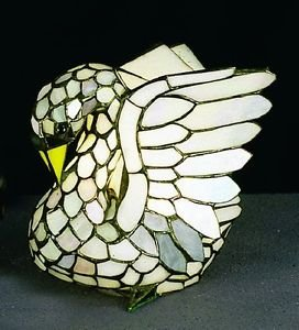 Swan Accent Lamp - Tiffany Style Stained Glass Swan Accent Table Lamp