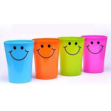 lcj Multi-function Smile Face Plastic Toothbrush Cup 250ML(Random Color)