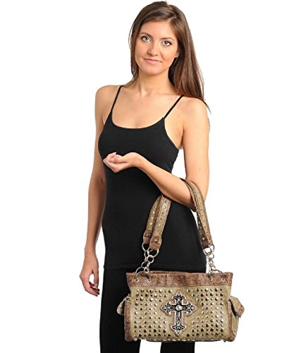 Handbag Leather Studded Jeweled Damask Cross Brown Women Embellished Faux Hobo TB5qxwvnP
