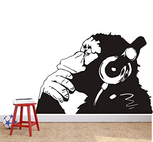 Banksy Vinyl Wall Decal Street Graffiti Monkey Wear Headphone Wall Art Sticker Bansky Chimp Listening to Music Earphone Graffiti Sticker Mural W-23 (Black, 75x110cm)