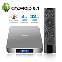 Android 8.1 TV Box with Voice Remote, RK3328 Quad Core 64bit 4GB DDR3 32GB eMMC Memory Smart TV Box with Bluetooth 4.0 WiFi Ethernet HDMI HD 4K Media Player Set Top Box