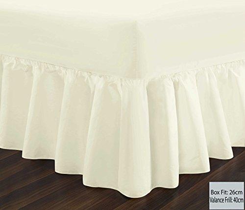 ARIZONE-T180Perkal Standard & Extra tief Querbehang Spannbettlaken in 14Farben, cremefarben, Einzelbett