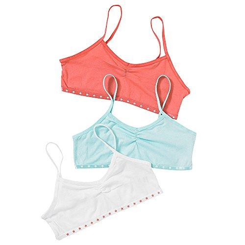 Just Essentials Girls Back To School 3 Pack Cotton Crop Bra Tops...