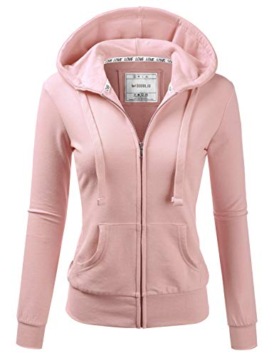 Doublju Lightweight Thin Zip-Up Hoodie Jacket for Women with Plus Size BLUSHPINK X-Large