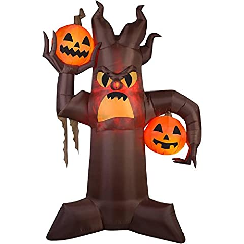 XL Gemmy Airblown Inflatable 10.5' X 7' Brown Scary Tree Halloween Outdoor/Indoor Decoration Fire and - Mens Social Web