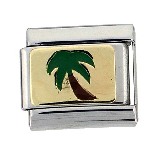 Sabrina Silver Stainless Steel 18k Gold Palm Tree Charm for Italian Charm Bracelets