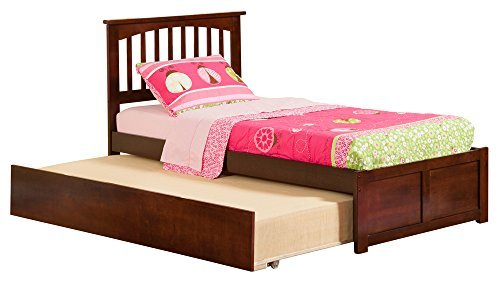 Mission Bed with Flat Panel Footboard and Urban Trundle, Twin, Antique Walnut (Trundle Bed Antique Walnut)