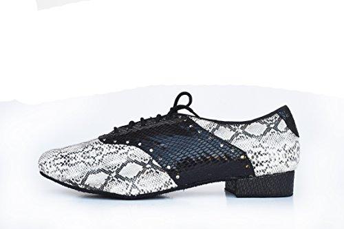 Abby M1 Para Hombre Jazz Moderno Con Cordones Cerrado Punta Pu Zapatos De Baile Estándar Gris