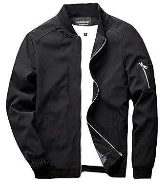 sandbank Men's Slim Fit Lightweight Softshell Flight Bomber Jacket Coat (US 2XL, Black #2)