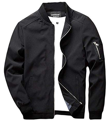 sandbank Men's Slim Fit Lightweight Softshell Flight Bomber Jacket Coat (US M = Asian Tag 3XL, Black #2)