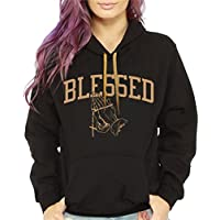 CaliDesign Women's Blessed Hoodie Sweatshirt Black Gold Cute urbanWear christian