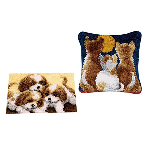 Prettyia Puppy and Kitten Pattern Latch Hook Rug Kit with Starter Tool for Beginners Making Pillow Cushion