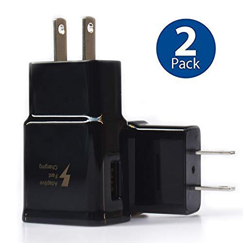 (Adaptive Fast Charging Wall Charger Adapter Compatible Samsung Galaxy S6 S7 S8 S9 / Edge/Plus / Active, Note 5,Note 8, Note 9, EP-TA20JBE Quick Charge Charger (2 Pack))