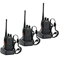 Bao Feng Rechargeable Walkie Talkies Long Range Two Way Radios for Outdoor Travel (Pack of 3)