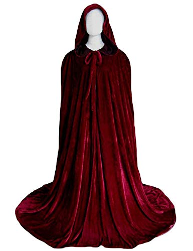 Long Burgundy Cloak Christmas Cape Medieval Cape Bridal Shawls (Burgundy, -