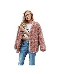 Realdo Womens Fashion Faux Fur Coat Solid Cardigan Jacket Outerwear