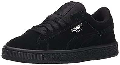 PUMA Suede JR Classic Kids Sneaker (Little Kid/Big Kid), Black Silver, 11 M US Little Kid