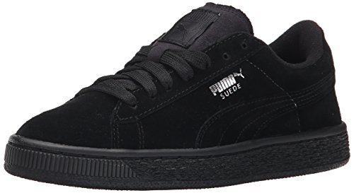 PUMA Suede Jr Classic Kids Sneaker (Little Kid/Big Kid), Black Silver, 6 M US Big Kid - Kid Suede Shoes