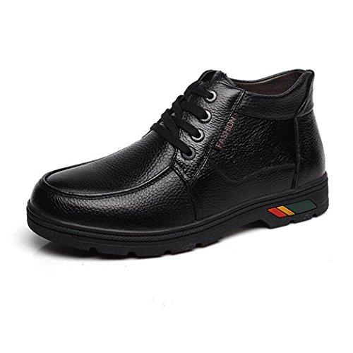 Herren Winter Verdickung Baumwolle Stiefel Plus Plüsch Warm Warm Leder Stiefel Casual Wanderschuhe 37-43 Black
