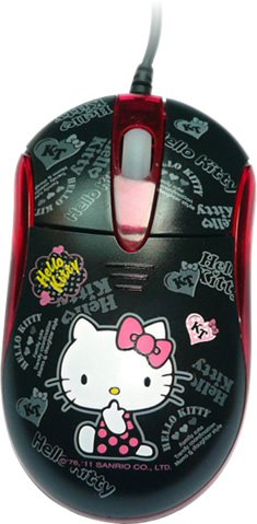 Hello Kitty Black Light-up USB Optical USB Mouse w/ Mouse Mat Rare