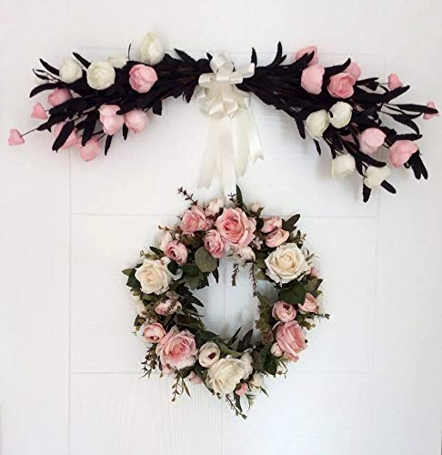 LaHomey 12-Inch Rose Flower Wreath, Peony Flowers Garland Wreath, Handmade Home Decoration for Wedding Christmas Party
