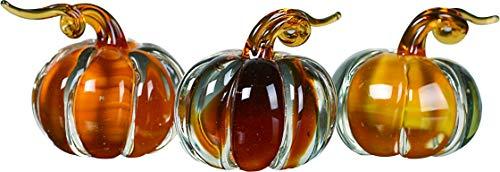 Transpac Imports D1595 Mini Glass Amber Pumpkin Set of 3 Figurine Brown -