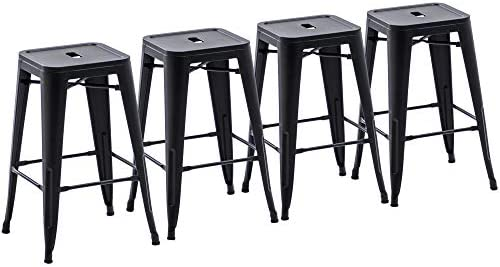 Yongchuang Metal Bar Stools 26 inches Backless Indoor Outdoor Barstools Set of 4 Counter Stools Stackable Matte Black