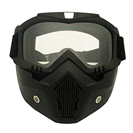 TOOGOO Casco de moto desmontable modular con máscara protectora para la cara, lente amarilla