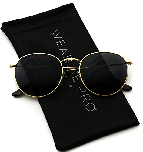 WearMe Pro - Reflective Lens Round Trendy Sunglasses (Gold Frame/Black Lens, 51) -