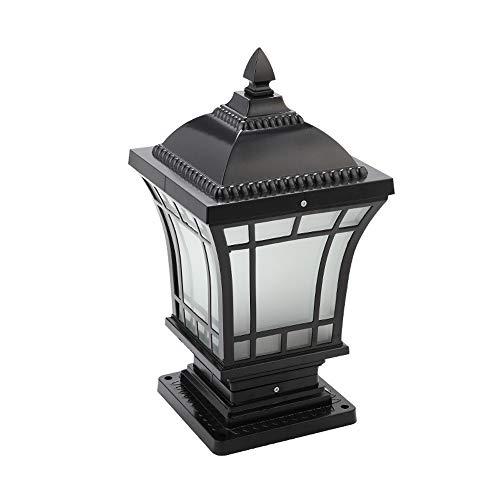 Reisx 46cm Negro pedestal de aluminio al aire libre de la lampara de cristal Pilar cesped Linterna Patio de la lampara de escritorio IP55 a prueba de agua Ruta Villa retro retro lamparas E27 cerca del