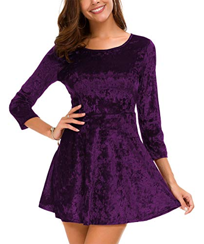 Sleeves Flared Mini Dress - DGMYG Women's 3/4 Sleeve Round Velvet Skater Casual Swing Flared Short Mini Dress M Purple