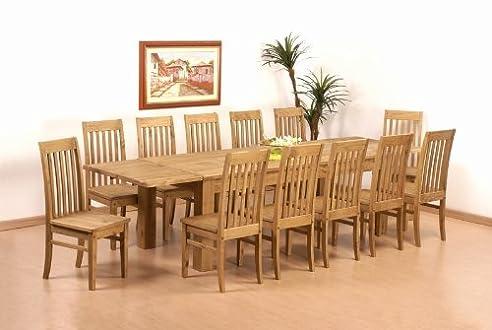 Tisch 308x90 12x Stuhl Klassik Pinie Massiv Esszimmer Essgruppe
