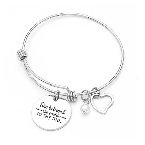 Charm Bracelet for Women Girls - She Believed She Could So She Did – Adjustable Bangle Inspirational Jewelry Gift Valentine Birthday Anniversary Christmas ()